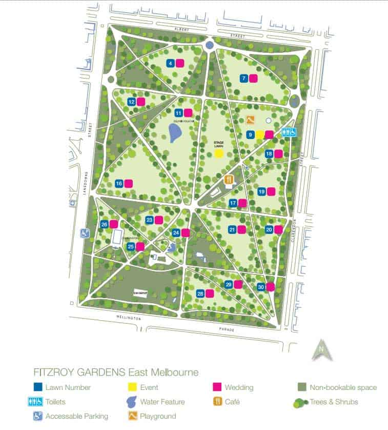 Fitzroy Gardens Map