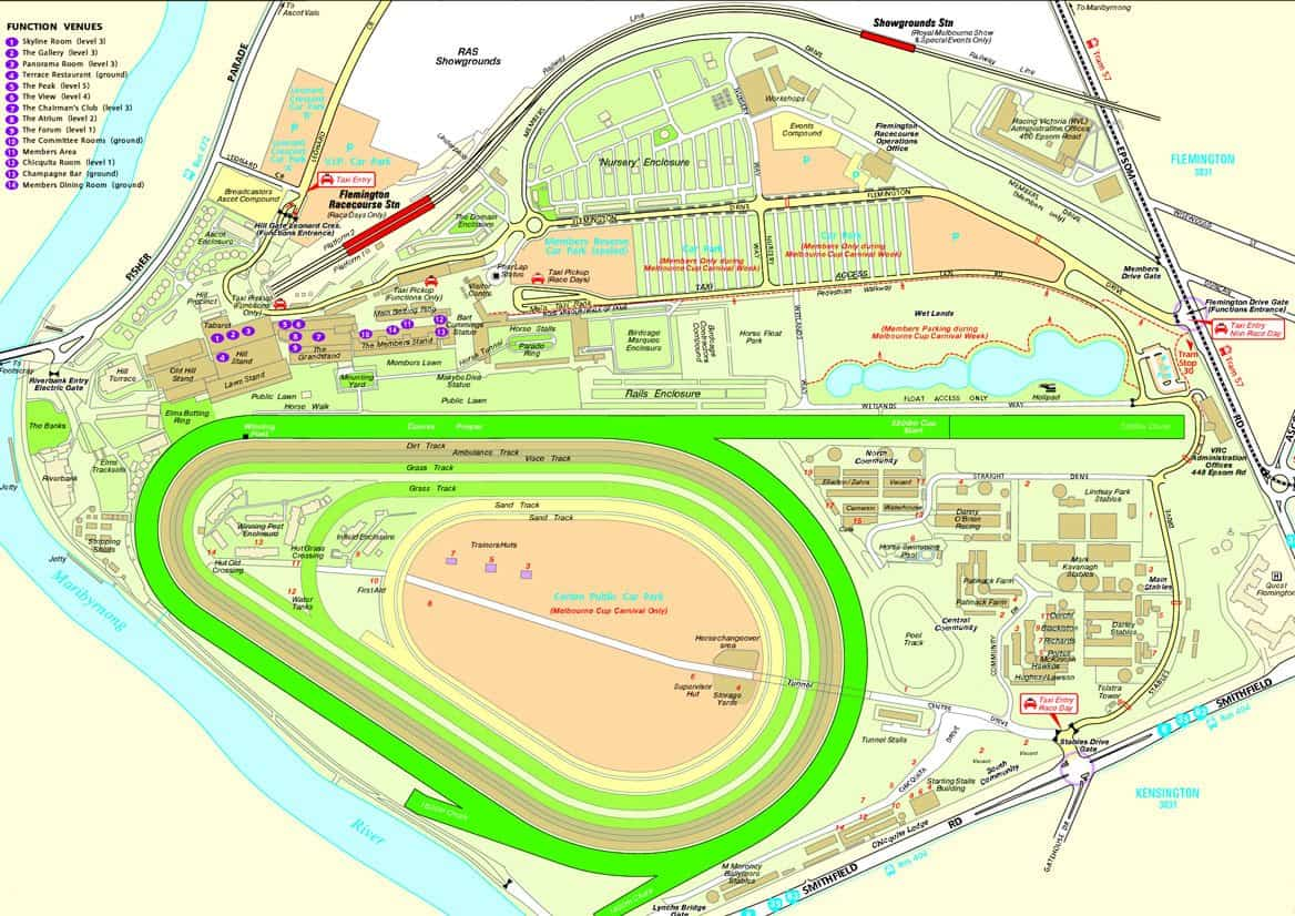 flemington racecourse map