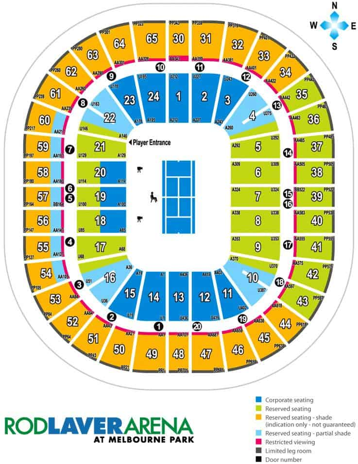 Rod Laver Arena Seating Plan Map Events Amp Parking