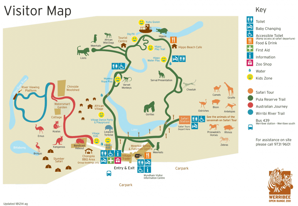 werribee zoo map