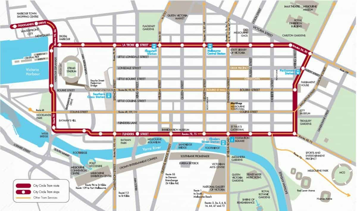 Mebourne Maps Tourist Train CBD Suburbs Surrounding Areas
