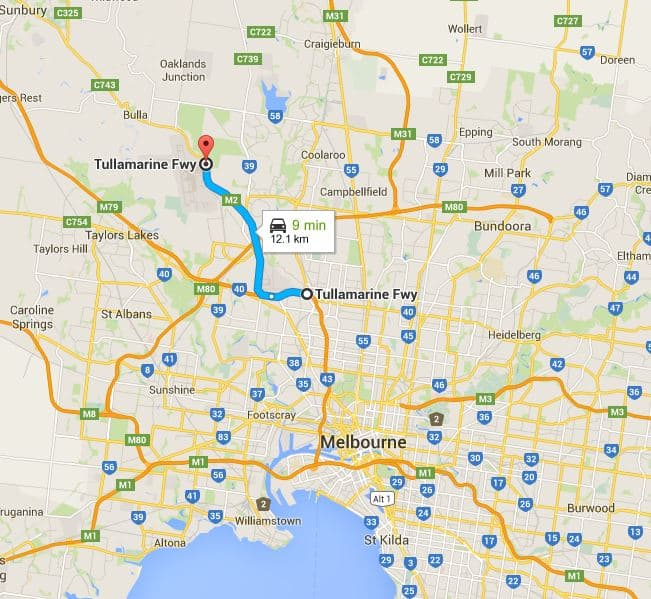 Tullamarine Freeway - Melbourne Airport & Map