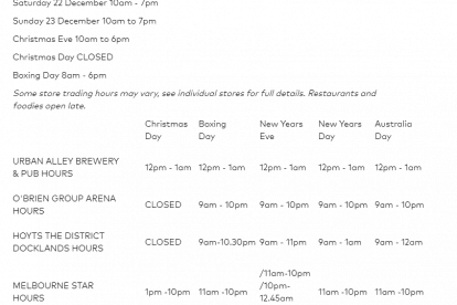 The District Docklands Christmas Trading Hours