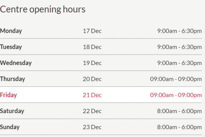 Victoria Gardens Christmas Trading Hours