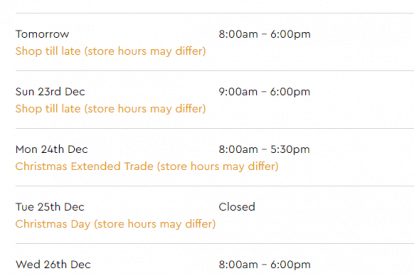 Westfield Airport West Christmas Trading Hours