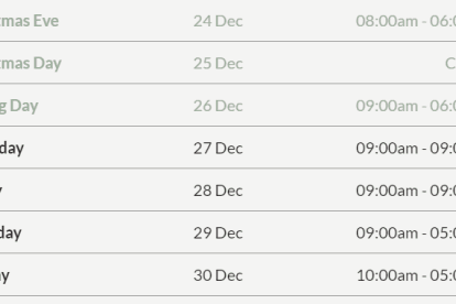 Broadmeadows Central Christmas Trading Hours