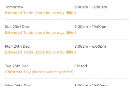 Westfield Fountain Gate Christmas Trading Hours