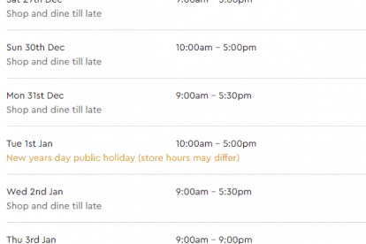 Westfield Plenty Valley Christmas Trading Hours
