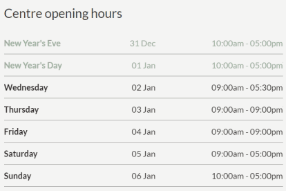 The Glen Christmas Trading Hours