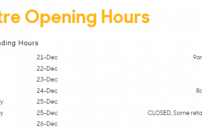Pacific Epping Christmas Trading Hours