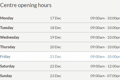 Northland Christmas Trading Hours