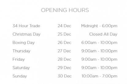 Chadstone Christmas Trading Hours
