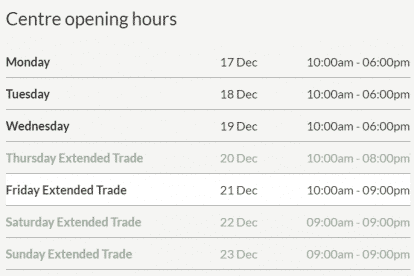 DFO Essendon Christmas Trading Hours