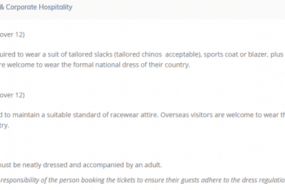 Dining, Enclosures & Corporate Hospitality Dress Code