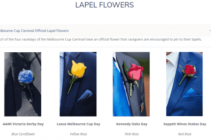 Melbourne Cup Carnival Official Lapel Flowers