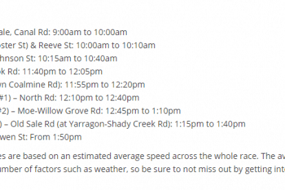Men's Stage 3 - Sale to Warragul Viewing Points