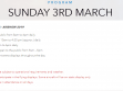 SUNDAY 3RD MARCH